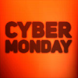 Vector Cybermontag-Verkaufshintergrund mit glänzenden Punkten Vector Illustration auf unscharfem Hintergrund der orange Farbe Stockfoto