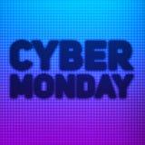 Vector Cybermontag-Verkaufshintergrund mit glänzenden Punkten Vector Illustration auf unscharfem Hintergrund von Blauem und von v Lizenzfreie Abbildung