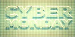 Vector Cybermontag-Verkaufshintergrund mit glänzenden Punkten Vector Illustration von prägeartigen Buchstaben auf Türkishintergru Stock Abbildung