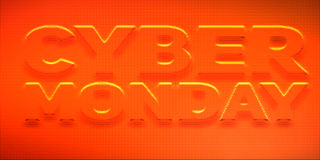 Vector Cybermontag-Verkaufshintergrund mit glänzenden Punkten Vector Illustration von prägeartigen Buchstaben auf rotem Hintergru Lizenzfreie Abbildung