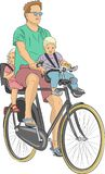 Vector. The cycling family. Royalty Free Stock Images