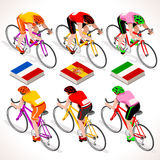 Vector Cyclists 2016 Tour Isometric People. Racing cyclist group riding bicycle path. Vector cyclist icon. Cyclist icons. Flat 3D isometric people set of vector Stock Images