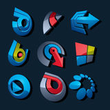 Vector 3d abstract icons set, simple corporate graphic design el Royalty Free Stock Photography
