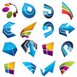 Vector 3d abstract icons set, simple corporate graphic design el Royalty Free Stock Photo