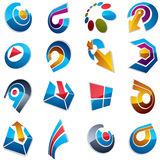 Vector 3d abstract icons set, simple corporate graphic design el. Ements. Colorful marketing symbols set isolated on white background Royalty Free Stock Photography