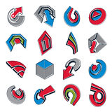 Vector 3d abstract icons set, simple corporate graphic design el. Ements. Colorful marketing symbols set  on white background Stock Photo