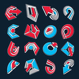 Vector 3d abstract icons set, simple corporate graphic design el. Ements. Red and blue marketing symbols set isolated on black background Stock Photography
