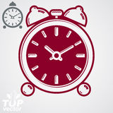 Vector 3d alarm clock with two symmetric bells. Wake up conceptu. Al icon, additional version included. Graphic design element – get up theme. Simple retro Stock Images