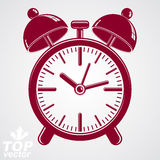 Vector 3d alarm clock with two symmetric bells, wake up conceptu. Al icon. Graphic design element – get up theme. Red retro timer with clang bells Royalty Free Stock Photography