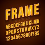 Vector 3d Alphabet Font with Frame and Shadow on Red Background. Modern Typeface Design Collection with ABC, Number and. Special Characters for Banner, Poster royalty free illustration