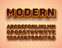 Vector 3d Alphabet Font with Frame and Shadow on Red Background. Modern Typeface Design Collection with ABC, Number and. Special Characters for Banner, Poster stock illustration