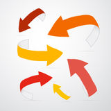 Vector 3d Arrows in Warm Colors. On Grey Background Stock Photo