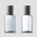 Vector 3d as garrafas transparentes realísticas, manta BG ilustração stock