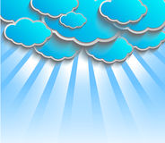 Vector 3D background with clouds. Vector 3D sky backgrounds with clouds and sun Royalty Free Stock Photos