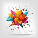 Vector 3d basketbal geïsoleerde bal op abstracte moderne achtergrond Realistische stijl Royalty-vrije Stock Foto's