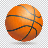 Vector 3d basketball  ball on transparent background. Re. Alistic style. Orange and black, classic Stock Photos