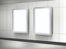 Vector 3d blank billboard and lightbox. Template on the wall Royalty Free Stock Images