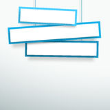 Vector 3d Blank Blue 3 Line Wonky Hanging Banners. Vector 3d blank white and blue wonky 3 line banner hanging from wires with space for titles and text made with Royalty Free Stock Photography