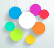 Vector 3d Blank Colorful Circle Frames Hanging Design. Vector 3d colourful circle signs hanging from wires with blank space for text or pictures with editable Stock Photo