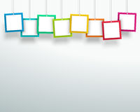 Vector 3d Blank Colourful Square Frames Hanging Design. Vector 3d blank colourful square frames hanging from wires with blank space for titles and text made Royalty Free Stock Photo