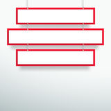 Vector 3d Blank Red 3 Line Title Banners Hanging Design. Vector 3d blank red 3 line banner hanging from wires with space for titles and text made with realistic Stock Photos