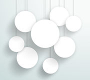 Vector 3d Blank White Circle Frames Hanging Design. Vector 3d white circle signs hanging from wires with blank space for text or pictures with editable Stock Image