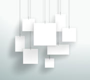 Vector 3d Blank White Square Boxes Hanging Design. Vector 3d white square boxes hanging from wires with blank space for text or pictures made with realistic Stock Photography