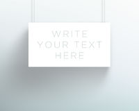 Vector 3d Blank White Title Banner Hanging Design. Vector 3d blank white banner hanging from wires with space for titles and text made with realistic editable Stock Photos