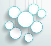 Vector 3d Blue Circle ondertekent het Hangen Ontwerp Stock Fotografie