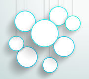 Vector 3d Blue Circle Signs Hanging Design. Vector 3d blue circle signs hanging from wires with blank space for text or pictures with editable transparent Drop Stock Photography