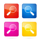 Vector 3d Blue, Red, Yellow and Pink Magnifying Glass. Square Icons Set Stock Images