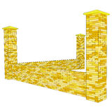 Vector 3D brickwork fence fragment in perspective Royalty Free Stock Images