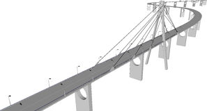Vector 3D bridge City buildings view. 3D bridge and train,City buildings view vector illustration,buildings, ,bridges on white  background. 3D arcitecture 5 Stock Image