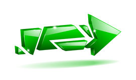 Vector 3D broken arrow. Pointer with reflection Stock Image