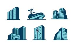 Vector 3d building icons set. With six different modern skyscrapers  high-rise buildings and a sports stadium isolated on white Royalty Free Stock Images