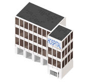 Vector 3d building. Vector illustration of 3d building. Isometric view of multi-storey building. Can be used as icon of hospital, hotel, mall, business center Stock Photography