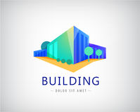 Vector 3d building logo, business office icon. Company identity Royalty Free Stock Image