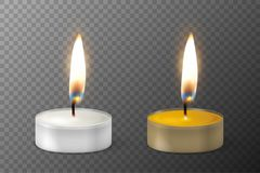 Vector 3d burning realistic candle light or tea light flame icon set closeup isolated on transparency grid background. Tea candle or candle in a case. Design Royalty Free Stock Photo