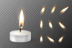 Vector 3d burning realistic candle light or tea light and different flame of a candle icon set closeup  on. Transparency grid background. Tea candle or candle Royalty Free Stock Photos