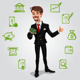 Vector 3d businessman. Holding money in hand Royalty Free Stock Image