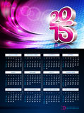 Vector 3d Calendar 2015 illustration on abstract color background. Stock Image