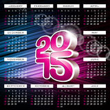 Vector 3d Calendar 2015 illustration on abstract color background. Stock Photos