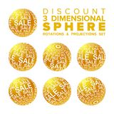 Vector 3d Christmas sale banner golden and white ball rotations and projections set vector illustration