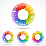 Vector 3d circle arrows infographic. Template for color cycle diagram, graph, presentation and round chart. Business Stock Images