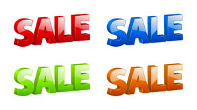 Vector 3D color sale signs. With nice sparkle and reflection Royalty Free Stock Image