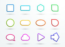 Vector 3d Color Text Box Frames Different Shapes Set of 12. Vector set of 12 different generic colourful 3d shapes with white space for text made with realistic Stock Photography