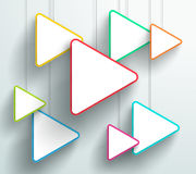Vector 3d Colorful Triangle Signs Hanging Design. Vector 3d colourful triangle signs hanging from wires with blank space for text or pictures with editable Stock Photos