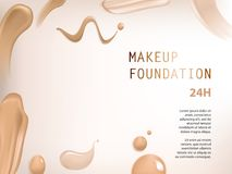 Poster with texture of smears of liquid foundation. Vector 3D cosmetic background for the promotion of colorstay foundation concealer Realistic poster with Royalty Free Stock Images