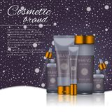 Vector 3D cosmetic illustration on a winter snowing background. Beauty realistic cosmetic product design template. Vector 3D cosmetic illustration on a soft Royalty Free Stock Images