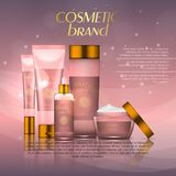 Vector 3D cosmetic illustration on a soft light background with flare effects. Beauty realistic cosmetic product design template. Vector 3D cosmetic royalty free illustration